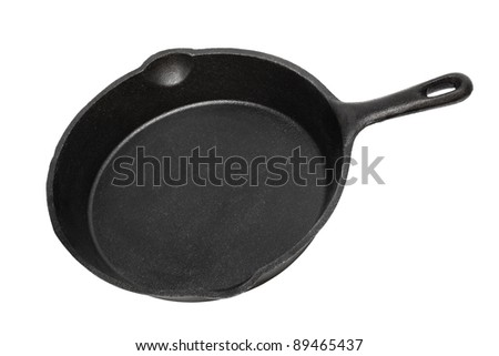 cast-iron frying pan on a white background