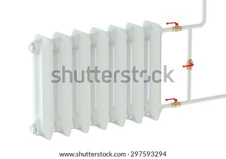 cast iron heating radiator isolated on white background - stock photo