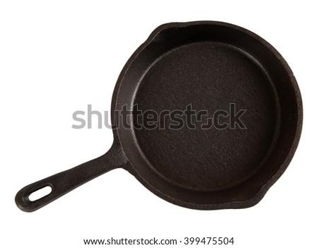 Cast-iron pan isolated - stock photo