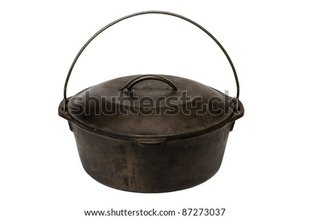 Cast iron pot isolated on white background with clipping path. - stock photo