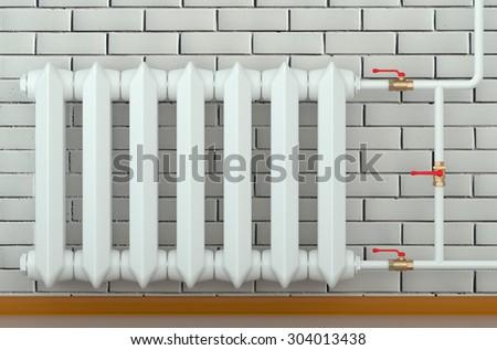 cast iron radiator at home isolated on white background - stock photo