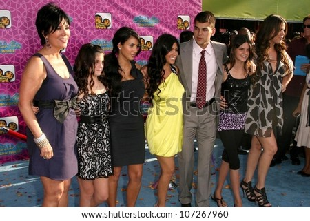 "Cast of ""Keeping Up with the Kardashians""  At the premiere of ""The Cheetah Girls: One World"". El Capitan Theatre, Hollywood, CA. 08-12-08 - stock photo"