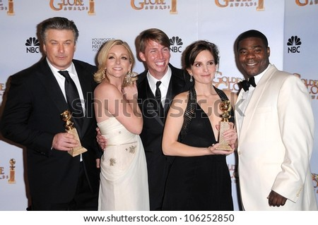 Cast of '30 Rock' in the press room at the 66th Annual Golden Globe Awards. Beverly Hilton Hotel, Beverly Hills, CA. 01-11-09 - stock photo