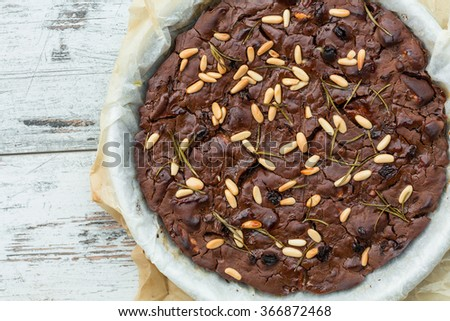 Castagnaccio (chestnut cake, Tuscany, Italy) - stock photo