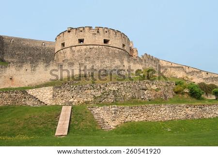 Castel Beseno, landmark medieval castle in Trento, Italy - stock photo