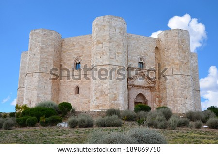 Castel del Monte, Apulia, Italy. The octagonal fortress of Emperor Frederick II from the 13th century. - stock photo