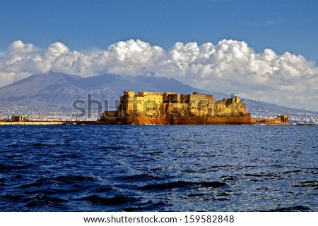 Castel dell'Ovo (Egg Castle) a medieval fortress in the bay of Naples, Italy - stock photo