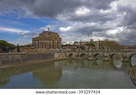 Castel Sant'Angelo and ancient bridge across the Tiber in Rome, Italy - stock photo