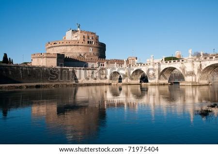 Castel Sant'angelo and Bernini's statue on the bridge, Rome, Italy. - stock photo
