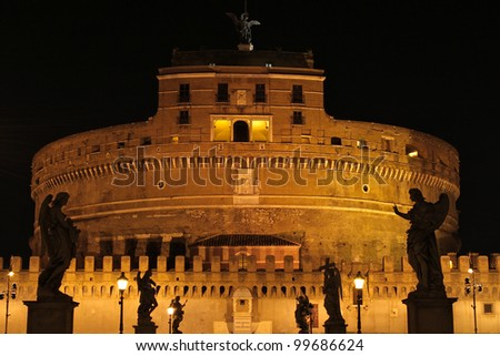 Castel Sant'Angelo in Rome at night. - stock photo