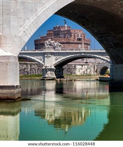Castel Sant Angelo, palace of Popes, Rome, Italy - stock photo