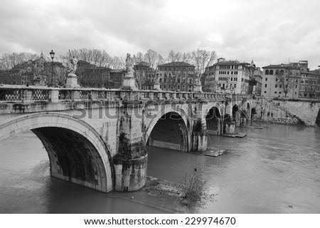 Castel Santangelo bridge in Rome, Italy. Black and white. - stock photo