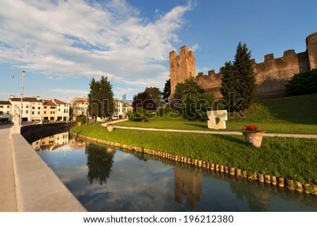 Castelfranco Veneto - Treviso Italy / Ancient walls of Castelfranco Veneto, north side (XII-XIII century) in the province of Treviso, north Italy - stock photo
