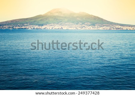 Castellammare di Stabia with the Gulf of Naples. Composition with multiple photographs of the Gulf of Naples and Mount Vesuvius with snow on top - stock photo