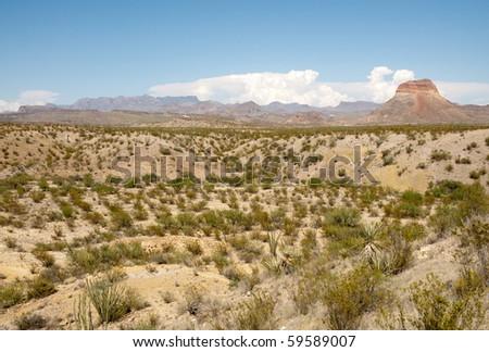 Castellan Peak and Chisos Mountains - stock photo