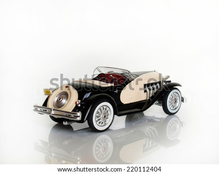 Castellon,Spaim.September 28,2014.Small collectible car against white background       - stock photo