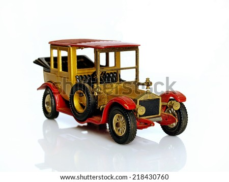 Castellon,Spain.September 20,2014 Collectible toy car over white background,old Rolls Royce - stock photo