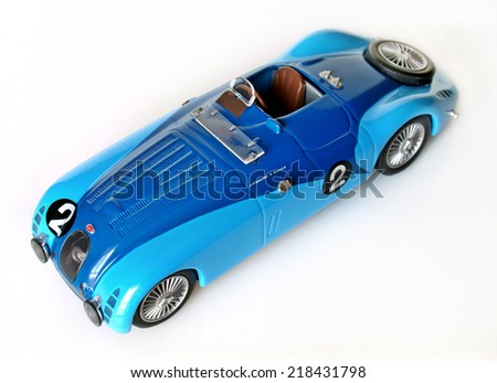 Castellon,Spain September 20,2014 Collectible toy car, vintage competition Bugatti  - stock photo