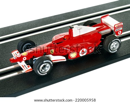 Castellon,Spain.September 27,2014.Red slot car on the track       - stock photo