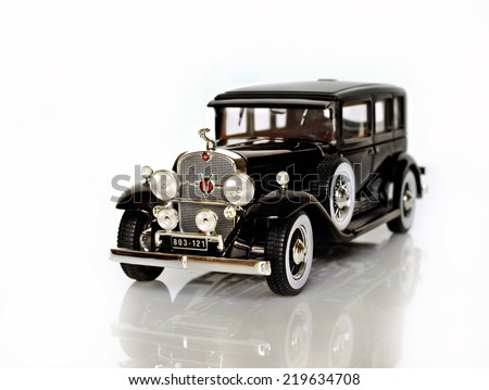 Castellon,Spain.September 25,2014.Small car over white background - stock photo