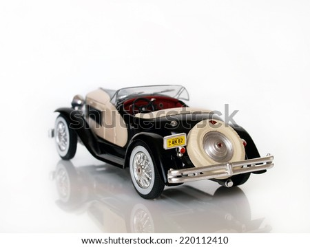 Castellon,Spain.September 28,2014.Small collectible car against white background       - stock photo