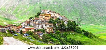 Castelluccio di Norcia -one of the most beautiful villages in It - stock photo