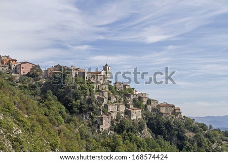 Castelnuova a Volturno - idyllic mountain village in Mainarde mountains in the Molise region - stock photo