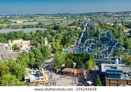CASTELNUOVO DEL GARDA, Italy - August 23: Attraction August 23, 2013 in Gardaland Theme Park in Castelnuovo Del Garda, Italy. Three million people visit the park on a yearly basis.