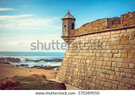 Castelo do Queijo or Cheese Castle near the beach of Porto. - stock photo