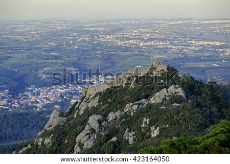 Castelo dos Mouros top view, Sintra, Portugal