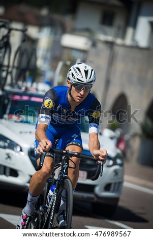 Castelrotto, Italy May 22, 2016; Gianluca Brambilla,  professional cyclist,  during a hard time trial climb, with arrival on the top of Alpe di Siusi.