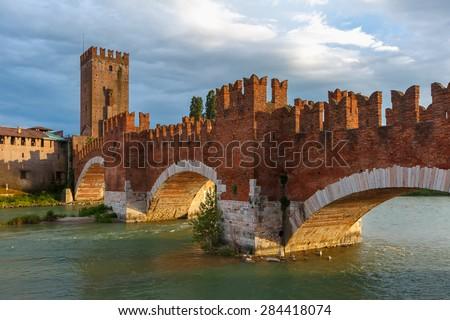 Castelvecchio at sunset in Verona, Northern Italy. - stock photo