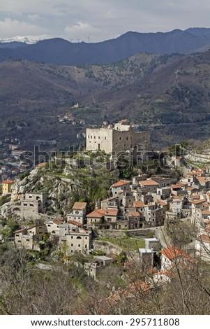 Castelveccio di Rocca Barbena - Ligurian village inland of the Italian Riviera - stock photo