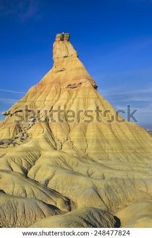 Castil De Tierra, Famous Landmark of Bardenas Reales Desert, in Spain Navarra - stock photo