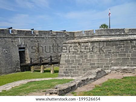 Castillo de San Marcos entrance and drawbridge. - stock photo