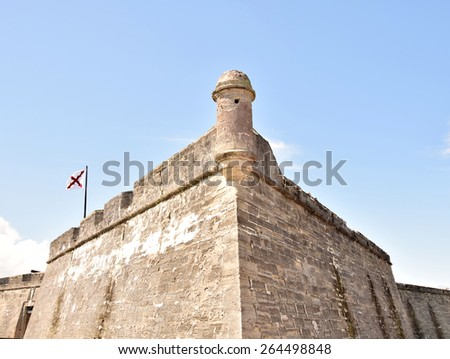 Castillo de San Marcos, landmark in St Augustine, FL, the oldest city in the USA - stock photo