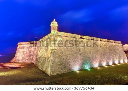 Castillo San Felipe del Morro also known as Fort San Felipe del Morro or Morro Castle at dusk. It is a 16th-century citadel located in San Juan, Puerto Rico. - stock photo