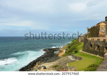 Castillo San Felipe del Morro El Morro, San Juan, Puerto Rico. Castillo San Felipe del Morro is designated as UNESCO World Heritage Site since 1983. - stock photo