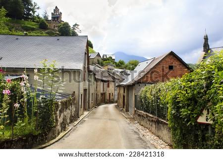 Castillon-en-Couserans village in Midi-Pyrenees in France  - stock photo