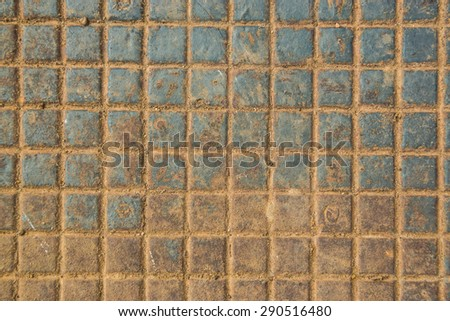 casting iron texture of a rectangles with rust  - stock photo