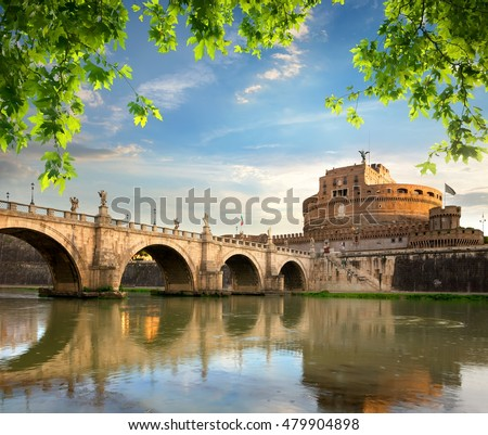 Castle and bridge of Angels in Italy, Rome