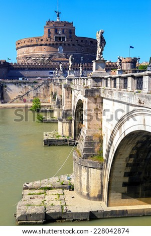 Castle and bridge of the Holy Angel (Castel Sant`Angelo) in Rome, Italy - stock photo