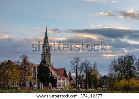 Castle and church in the autumn, selective focus