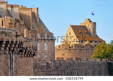 Castle and fortified city walls in St Malo, Brittany, France - stock photo