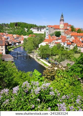 castle and Moldau river, medieval town Cesky Krumlov (UNESCO), South Bohemia, Czech republic, Europe - stock photo
