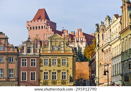 Castle and tenement houses in Poznan - Poland - stock photo