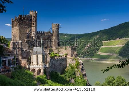 Castle at Rhine river - stock photo