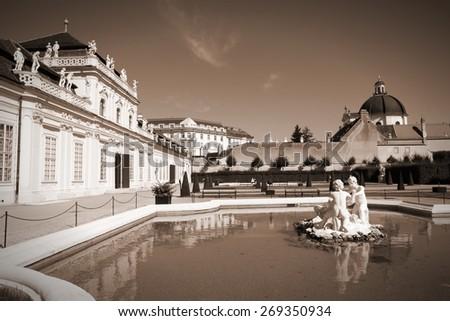 Castle Belvedere building in Vienna, Austria. The Old Town is a UNESCO World Heritage Site. Sepia tone - retro monochrome color style. - stock photo