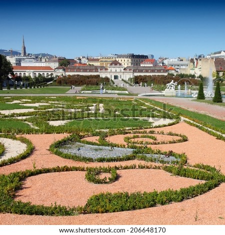 Castle Belvedere gardens in Vienna, Austria. The Old Town is a UNESCO World Heritage Site. Square composition. - stock photo