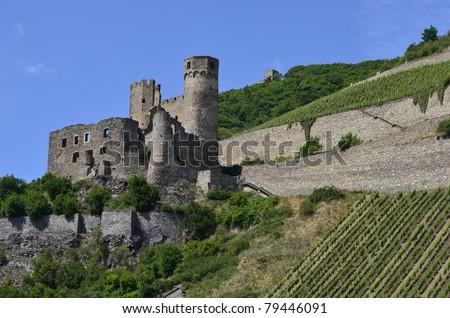 Castle Bingen in Germany, Rhine Valley, - stock photo
